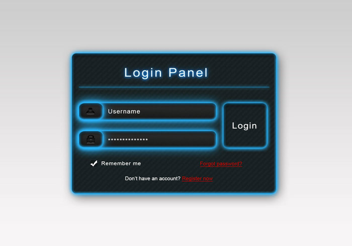 Glowing Login PSD Panel