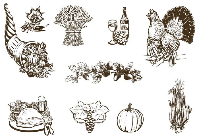 Vintage Thanksgiving brush pack
