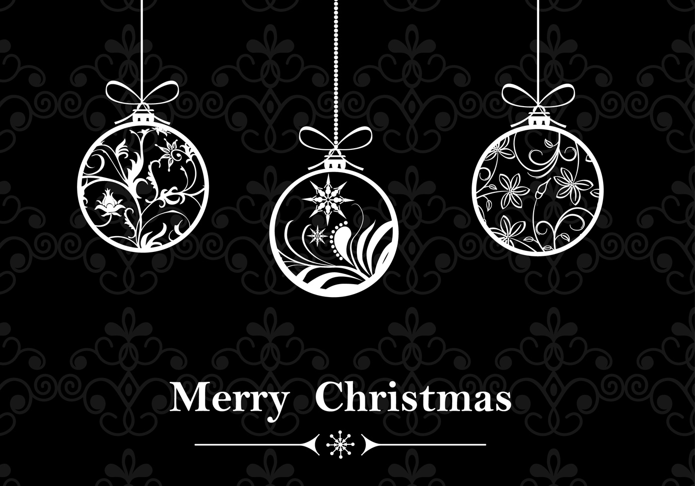 Black White Christmas Ornament Wallpaper Brush And Pattern