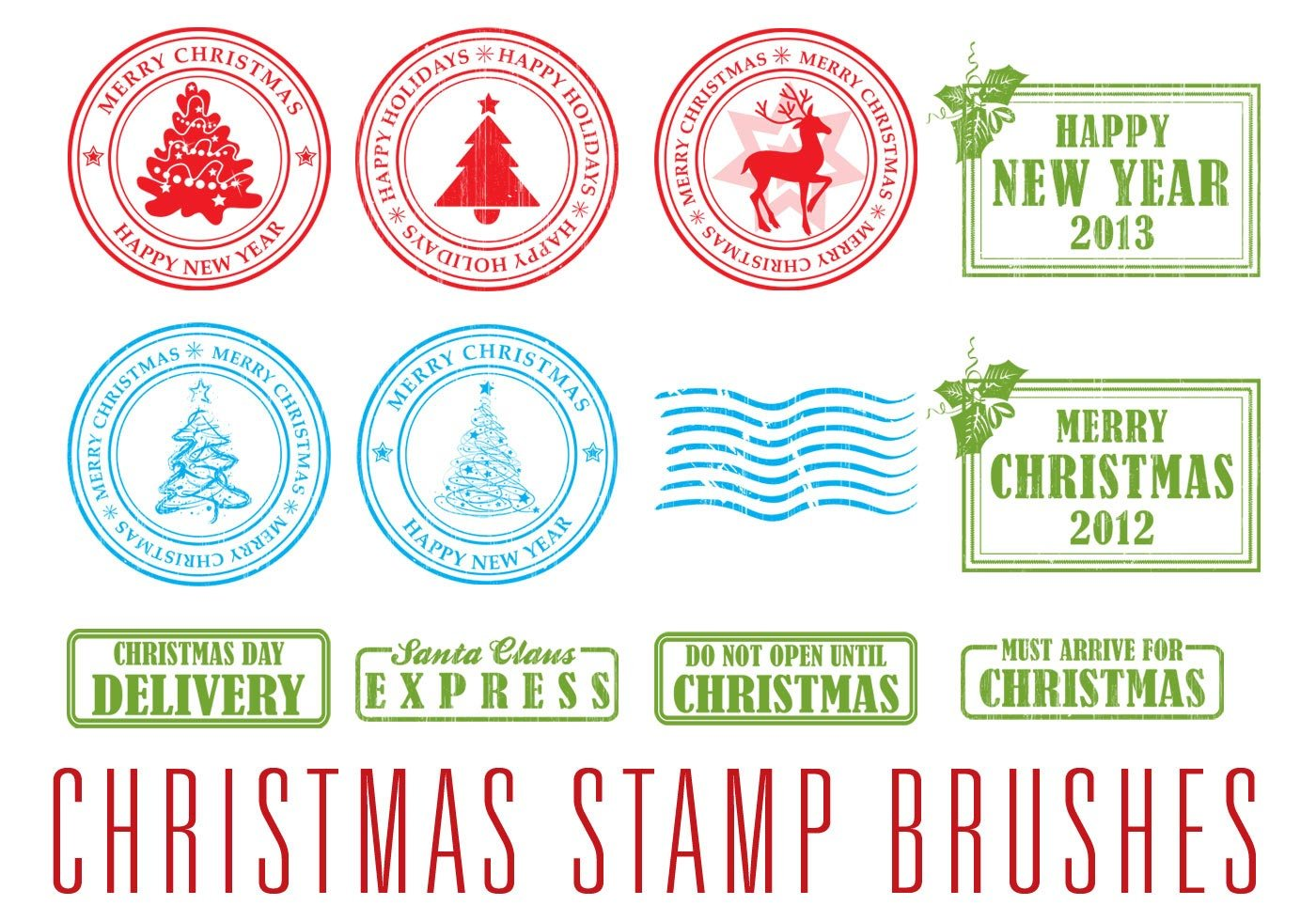 Christmas Stamp Brushes Free Photoshop Brushes At Brusheezy