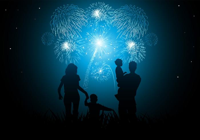 Family New Year Fireworks Wallpaper & Brush Pack