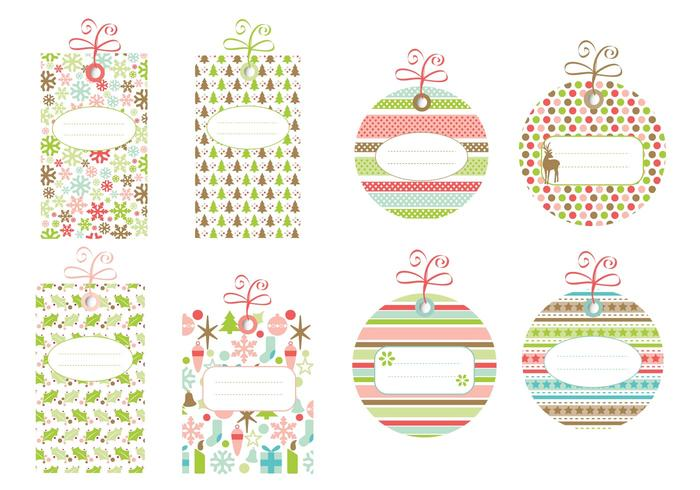 Patterned Christmas Label PSD Pack