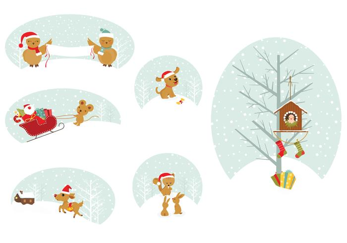 Kerst Animal Tags PSD Pack