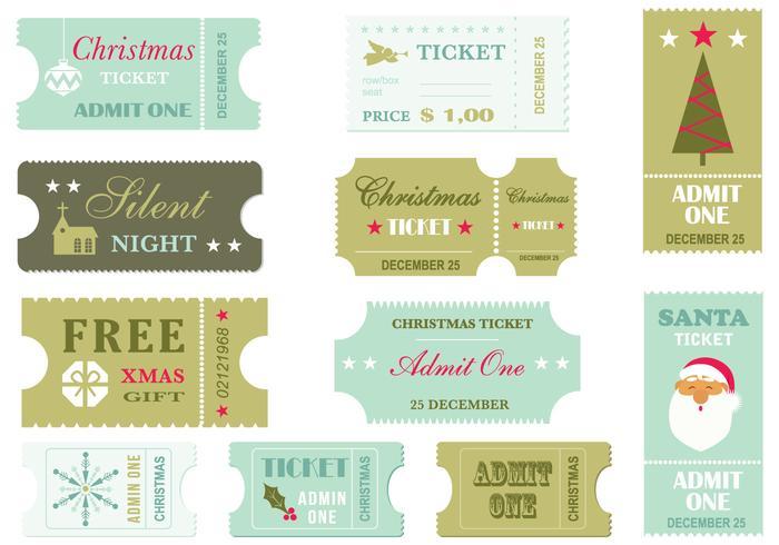 Retro Christmas Ticket PSD Pack