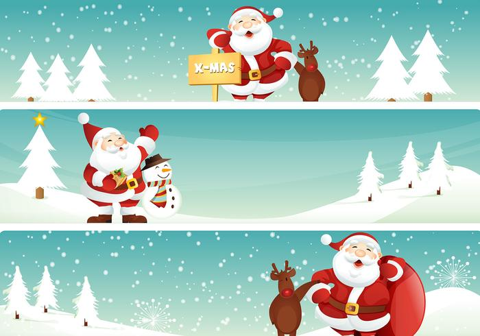 Santa and Reindeer Christmas Banner PSD Pack