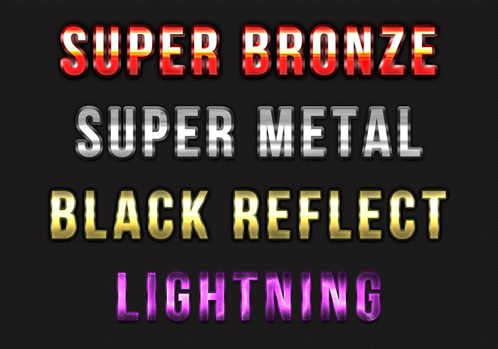 4 Metalen Lightning Text Styles
