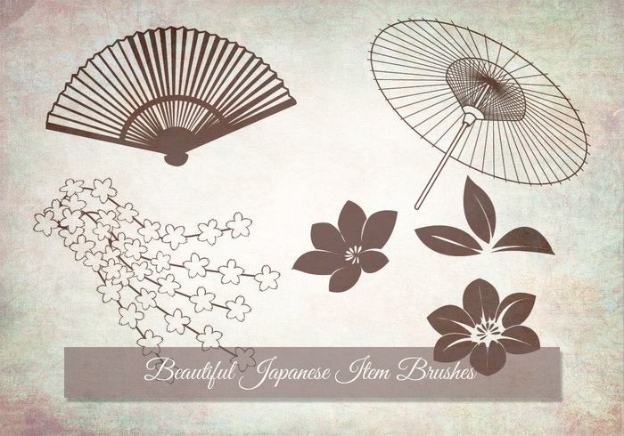 Japanese items and flowers brush - Free Photoshop Brushes at