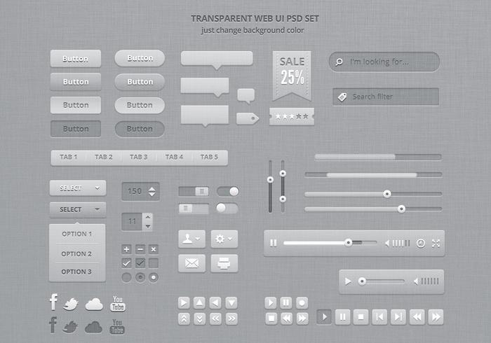 Transparent ui psd kit