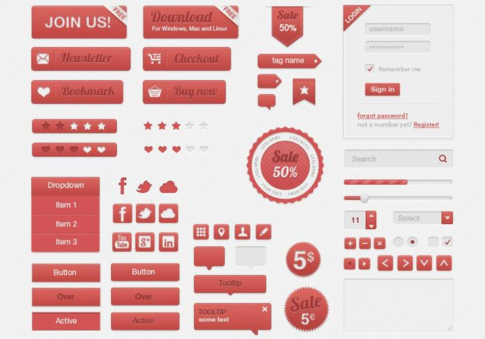 Red Retro UI PSD Kit