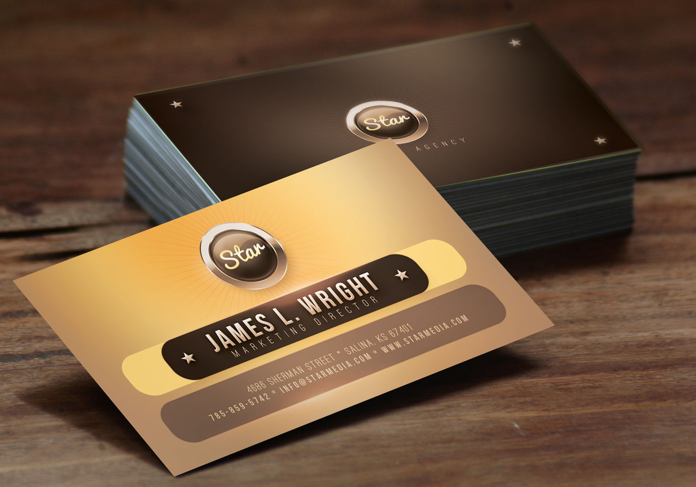 Golden Star Business Card Template PSD Pack - Free Photoshop Brushes ...