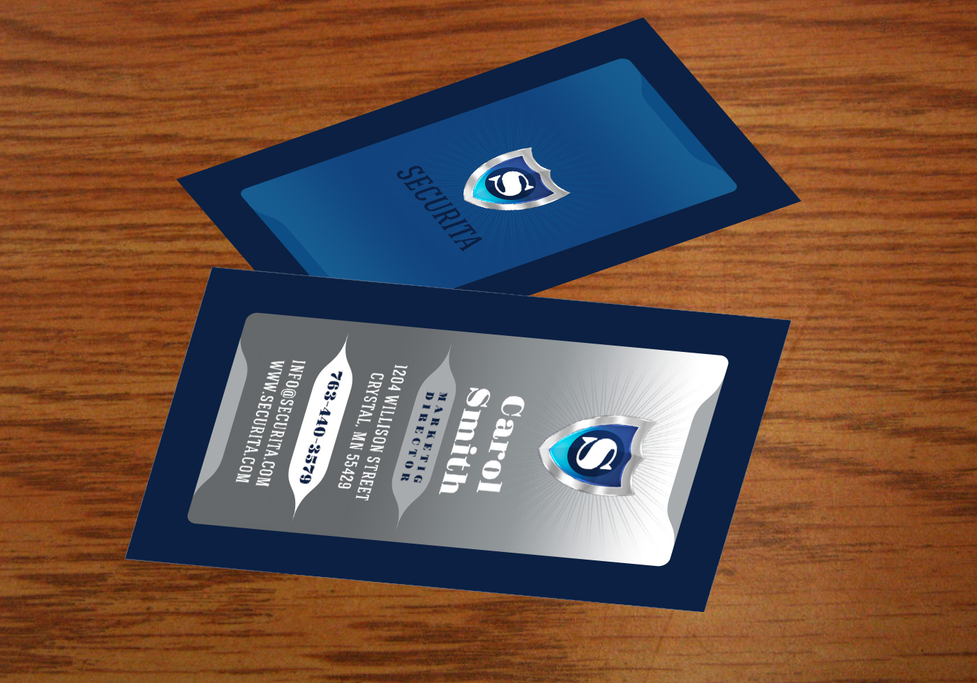 Silver And Navy Business Card Template PSD Pack