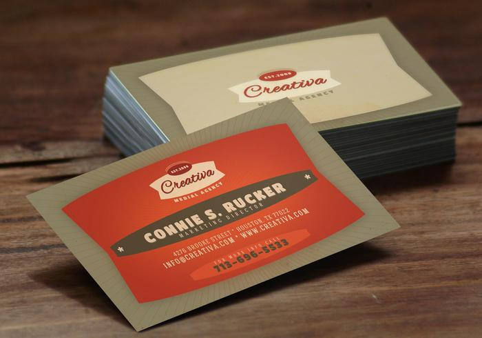 Bold Red Business Card Template PSD Pack