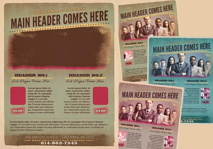 Grungy Flyer PSD-mall