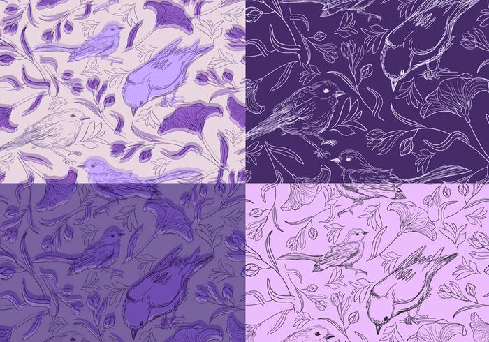 Seamless Purple Birds Pattern Pack