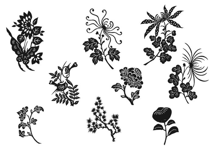 Schwarz-Weiß-Blumen-Pinsel-Pack