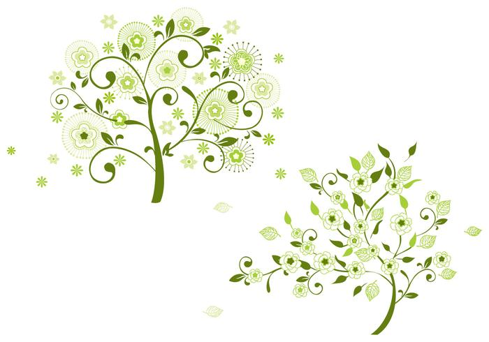 Green Floral Brush Tree Pack