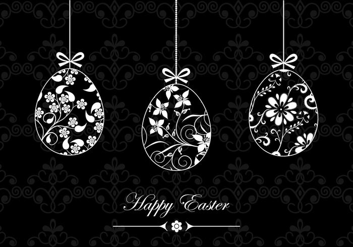 Zwart-wit Happy Easter Wallpaper and Brush Pack