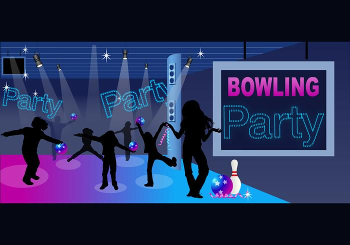 Bowling Party Wallpaper und Kinder Silhouette Pinsel Pack