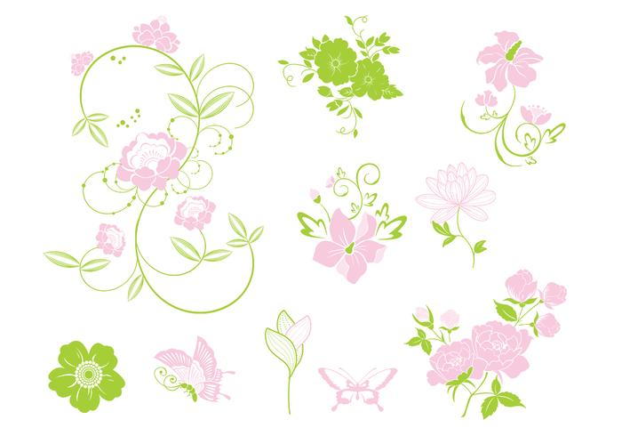 Pink and Green Floral Brush Pack