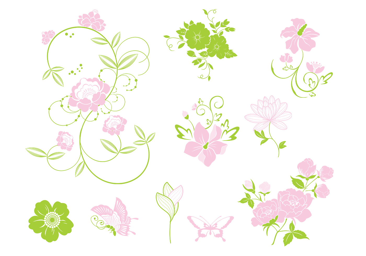 Pink And Green Floral Brush Pack Free Photoshop Brushes At Brusheezy