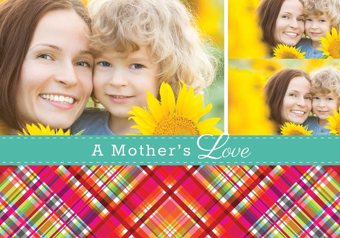 Plaid Mother's Day Card PSD Template