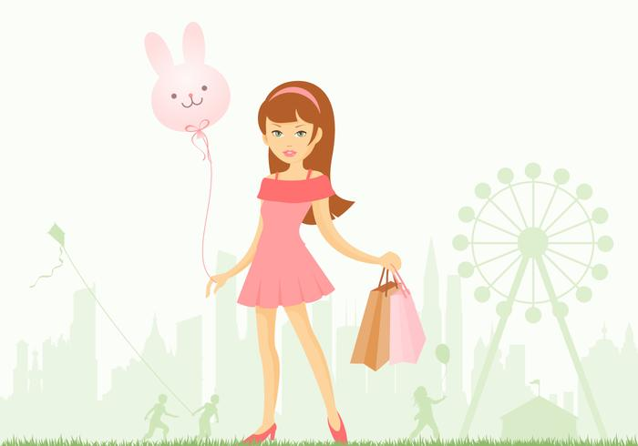 Girl at Amusement Park Wallpaper and Brush Pack