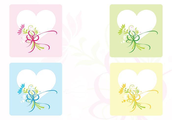 Ensemble de fond et de brosses coeur et fleur