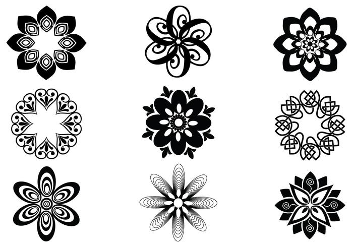 Abstract Floral Brush Elements