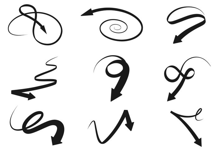 Black Swirly Arrow Brushes Pack