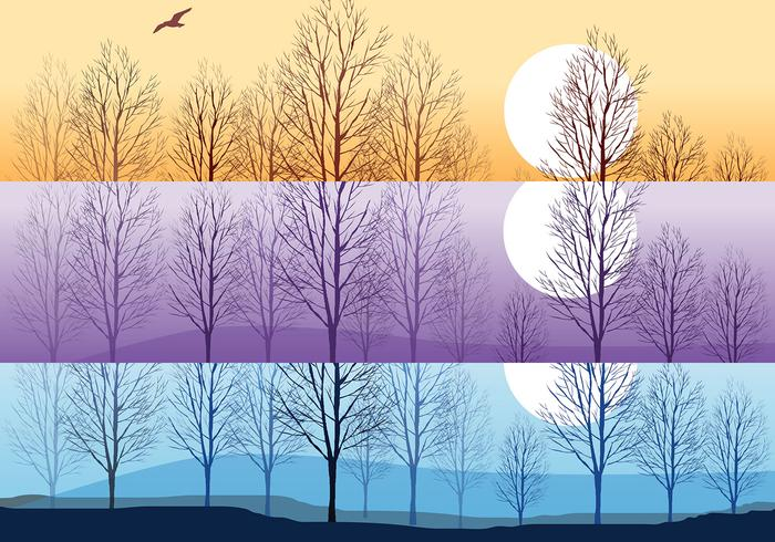 Silhouette Trees Wallpaper and Brushes Pack
