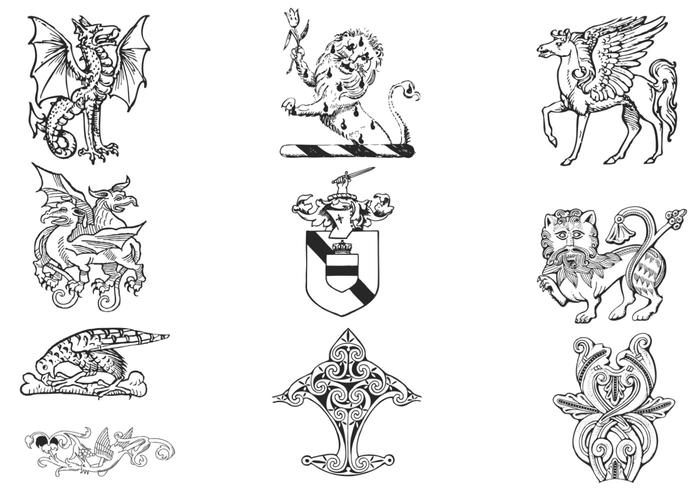 Hand Drawn Heraldry Brushes Pack