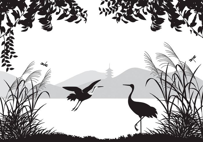 Aziatische Landschap Wallpaper Met Reigers Borstels Pack