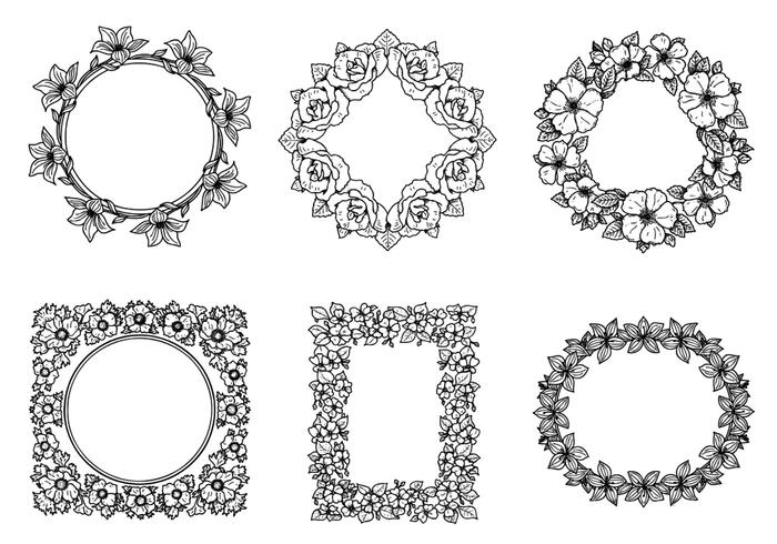 Handdragen Floral Frame Brushes Pack