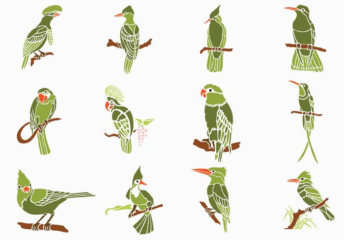 Pack de pinceaux Green Birds