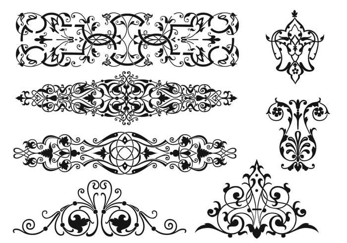 Pacote de escovas de ornamento Art Nouveau