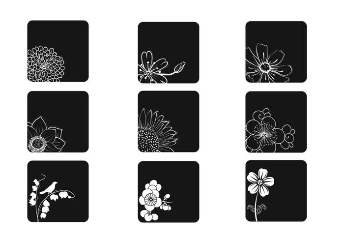 White and Black Flower Brushes Pack
