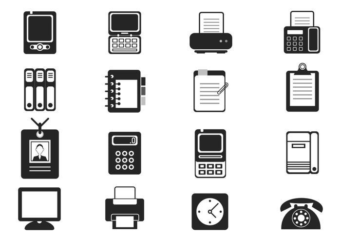 Brosses d'icônes d'équipement de bureau