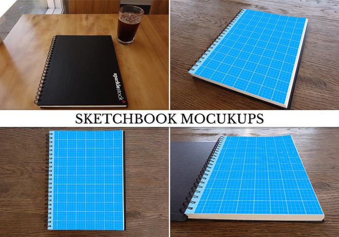 Fotorealistiska sketchbook mockups psds