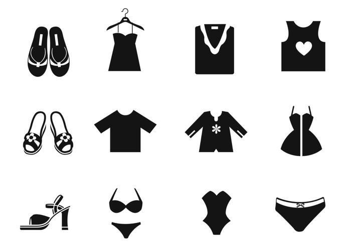 Female Clothing Brush Icons