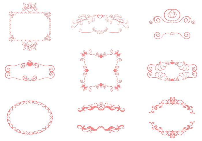 Swirly Heart Frame Brushes Pack