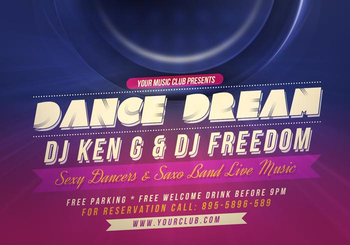 Dance Party Flyer PSD Template - Free Photoshop Brushes at