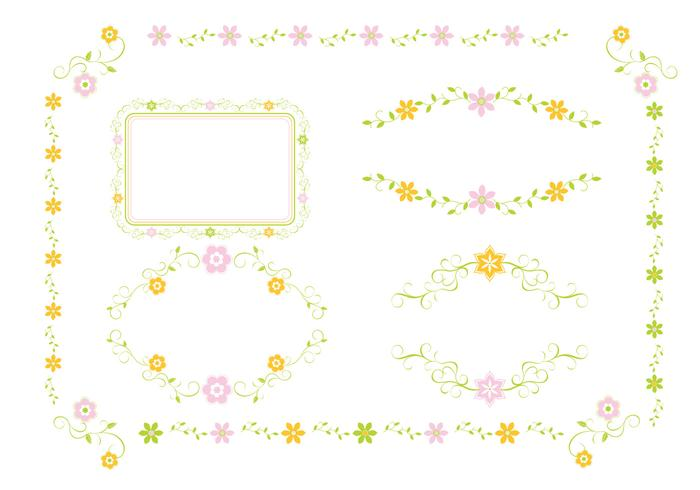 Pink and Green Floral Ornament Brushes Pack