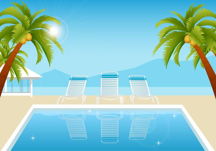 Tropical Summer Pool Wallpaper