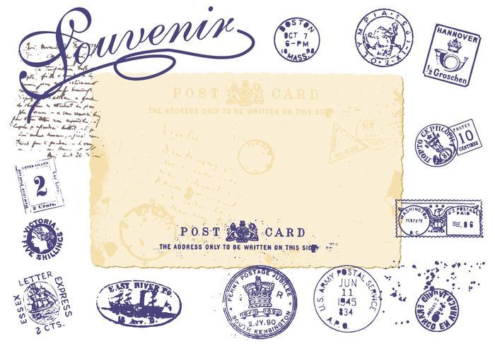 Weinlese-Briefmarken-Bürsten-Satz