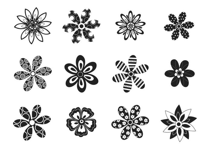 Decorative Black and White Flower Brushes