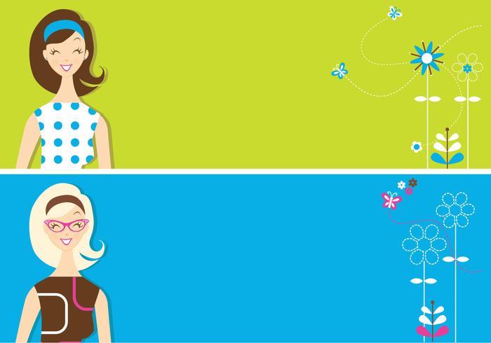 Retro Girls Banner Achtergrond Pakket
