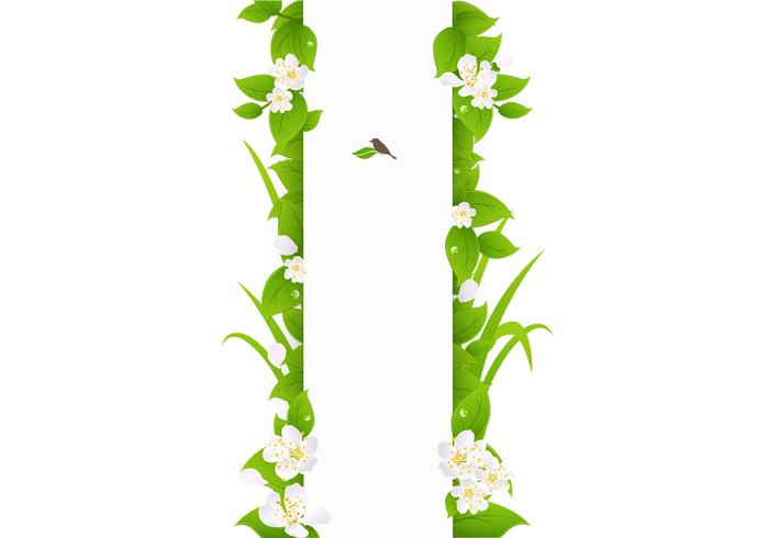 Vertical Green Leaves Banner Template