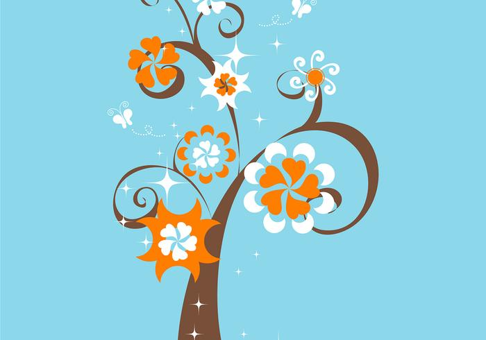 Funky Floral Tree Wallpaper
