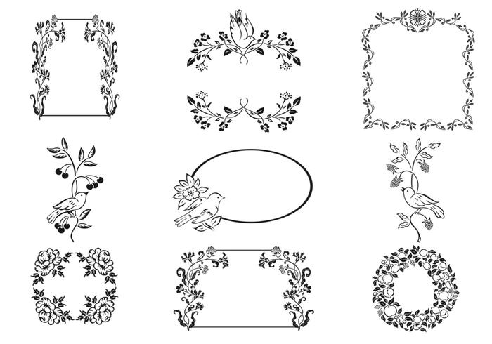 Floral Frame and Bird Ornament Brushes Pack