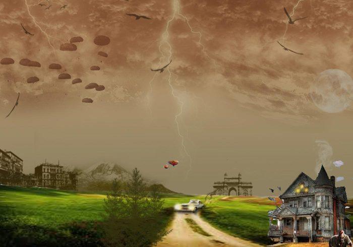 Bewölkt Wetter Spooky Background